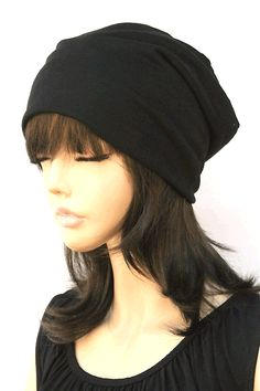 Above the Slouchy Beanie In Black