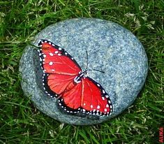 Red butterfly hand painted rock by Alika-Rikki Pebble Painting, Pebble Art, Stone Painting, Painting Flowers, Painting Art, Paintings, Stone Crafts, Rock Crafts, Arts And Crafts