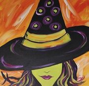 Canvas And Cocktails in Gulfport, Ms Halloween Canvas Paintings, Fall Canvas Painting, Halloween Painting, Autumn Painting, Diy Canvas Art, Pumpkin Painting, Witch Face Paint, Witch Painting, Diy Painting