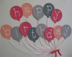 Balloon Happy Birthday Banner by iecreations on Etsy, $16.50