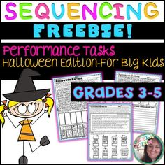 Challenge and engage your students with these 3 Halloween themed Performance Tasks (designed with 3rd-5th graders in mind). These tasks call for students to not only sequence events in fiction text, but are designed to be logic puzzles as well. Students will have to think deeply about the text to complete the tasks. Perfect for rotations, independent work, or partner activities! Answer Keys included :)