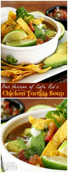 Craving Cafe Rio chicken tortilla soup, but don't want to go out? No problem! This tortilla soup recipe tastes just like the restaurant version. via @favfamilyrecipz