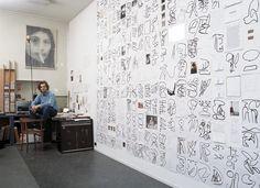 Sef Berkers. Studio wall, 10 - 5 / 12 - 5 / 14 - 5 - 2001, east-Indian ink, photos, diary fragments, polaroids, postcard, photocopy.