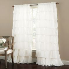 Product: Gypsy Ruffled Curtain Panel - White Comforter Bedspreads Sheets Bedski
