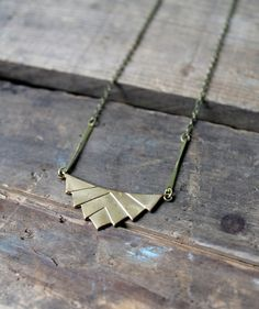 Brass Angles Necklace by SparrowCollective on Etsy