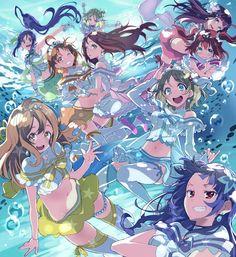 Love Live! Sunshine!! Hanamaru Kunikida, Dia Kurosawa, Kanan Matsuura, Mari Ohara, Riko Sakurauchi, Yoshiko Tsushima, You Watanabe, Chika Takami, Ruby Kurosawa, Aqours