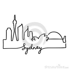 Illustration about Sydney skyline drawn as one continuous line. Simple and minimal city silhouette, isolated vector drawing. S Tattoo, Foot Tattoos, Small Tattoos, Tatoos, Tattoo Sydney, Australia Tattoo, Skyline Tattoo, Sydney Skyline, Small Doodle