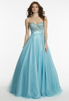 Glitter Ball Gown with Beaded Butterfly Prom Dress by Camille La Vie