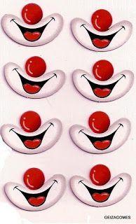 Minha arte na sala de aula: Moldes de olhos e boquinha para imprimir, recortar e colar. Circus Birthday, Circus Theme, Circus Party, Diy And Crafts, Crafts For Kids, Arts And Crafts, Paper Crafts, Clown Crafts, Clown Party