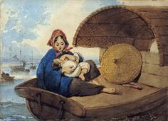 A Tanka Woman With Her Child On A Boat by Chinnery, George - Wall Art Giclee Print or Canvas