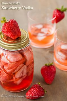 3 ingredients and 3 days is all you need to make this delicious and fragrant Strawberry Vodka. Makes a wonderful Christmas gift for friends and family!