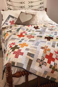 """Grab your precuts and get started! 2½""""-wide strips lessen the prep time for this throw quilt pattern called Five by Five by designer Kristin Lawson. The colors and prints in this quilt are so much fun!"""