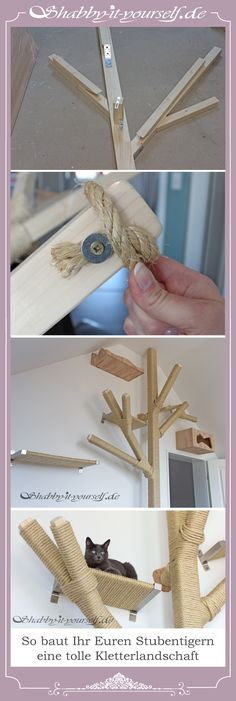wooden beams and sisal rope you can give your cats a great climbing . - Meine Haustiere -With wooden beams and sisal rope you can give your cats a great climbing . Cat Gym, Diy Cat Tree, Cat Towers, Cat Shelves, Cat Playground, Cat Scratcher, Pet Furniture, Furniture Stores, Cheap Furniture
