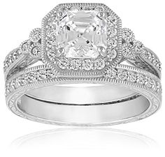 Platinum Plated Sterling Silver Swarovski Zirconia Asscher Antique Ring Set, Size 8 Amazon Curated Collection http://smile.amazon.com/dp/B00FRIJKNI/ref=cm_sw_r_pi_dp_.Kr3ub0BH1DQY