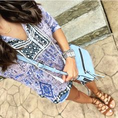 IG @mrscasual <click through to shop this look> split neck top, cut off denim shorts, lace up gladiator sandals, blue cross body bag. Buy this casual summer outfit on mrscasual.com!