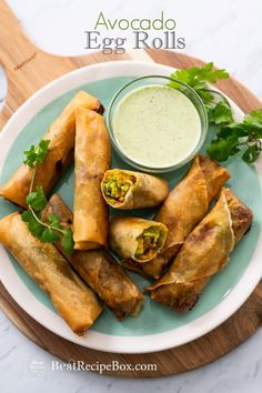 Avocado Egg Rolls Recipe or Guacamole Egg rolls Recipe @bestrecipebox #avocado #eggrolls #appetizers