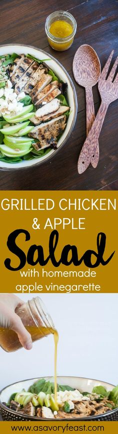 Make this fresh, flavorful Fall salad for dinner tonight! Grilled Chicken and Apple Salad is a snap to throw together and features a homemade apple vinaigrette dressing. This simple dinner recipe features grilled chicken, a tart granny smith apple, feta cheese, sunflower seeds and a homemade apple vinaigrette that you can mix together in minutes.