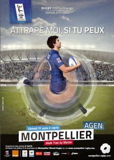 Catch me if you can! Top 14, Montpellier, Rugby, Sports, The Mansion, Posters, Hs Sports, Sport, Rugby Sport