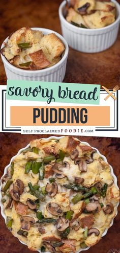 SAVORY BREAD PUDDING A delicious make ahead breakfast perfect for entertaining! This Savory Bread Pudding is made of mushrooms, asparagus, and your favorite cheese. Make this all around perfect breakfast recipe for your family or at any party! Breakfast Bread Puddings, Savory Bread Puddings, Savory Breakfast, Make Ahead Breakfast, Perfect Breakfast, Healthy Breakfast Recipes, Savory Bread Recipe, Bread Recipes, Cheese Pudding Recipe