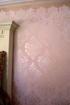 faux painting techniques for walls pink and ivory | Brocade technique by Luna Murals- teen age girls room