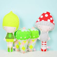 A #Lemon doll, sweet #icecreams rattles and a cute #Mushroom doll ☺ - by PinkNounou