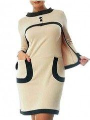 Color Block Pockets Charming Two-piece Crew Neck Plus-size-bodycon-dress