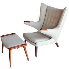 Papa Bear chair and ottoman by Hans Wegner