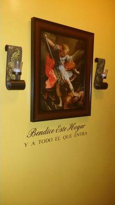 """Saint Michael Archangel in my entryway. Words under neath """"Bless this Home and all who enter"""".. San Miguel Arcangel en la entrada de mi casa.. frase abajo: """"Bendice este Hogar y a Todo el que Entre"""".."""