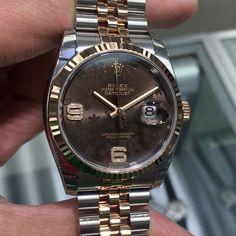 "6 Likes, 1 Comments - Da Vinci Watches (@davinciwatches) on Instagram: ""Rolex 36 mm Datejust Steel and 18K Rose Gold Jubilee Bracelet Brown Floral Dial Model # 116231…"""