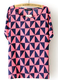 Red Short Sleeve Triangle Print Chiffon Blouse
