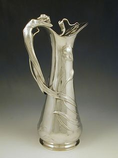 WMF Art Nouveau polished Pewter Flagon with Mermaid Handle, c. 1906, Germany