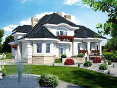 What a pretty house! Unique House Design, House Front Design, Dream Home Design, Bungalow Style House, Bungalow Haus Design, Bohemian House, Style At Home, House Plans Mansion, Model House Plan