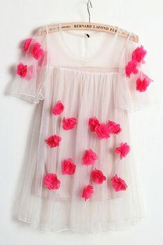 Stereo Flower embellishment Mesh Blouse OASAP.com
