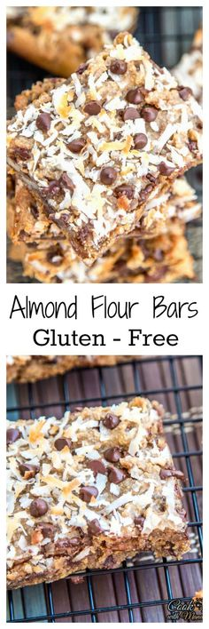 Healthy Gluten Free Almond Flour Bars Made With Almond Meal, Almond Butter, Flax Seeds, Honey And Walnuts. Extraordinary Post-Workout Snack Find The Recipe On Gluten Free Deserts, Gluten Free Sweets, Foods With Gluten, Gluten Free Cooking, Dairy Free Recipes, Cookies Sans Gluten, Dessert Sans Gluten, Paleo Dessert, Dessert Recipes