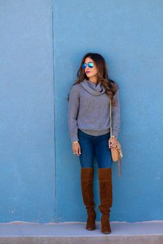 Grey Cowl Neck Sweater | adoubledose.com