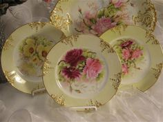 Breathtaking Victorian ROSES Antique Limoges France RARE ICE CREAM or DESSERT SET ~ 12 piece set Hand Painted Charger or Serving Platter / Tea Service Round Tray w/ Eleven Individual Floral Art Dessert Plates Dishes Artist Signed Albert C. Callier