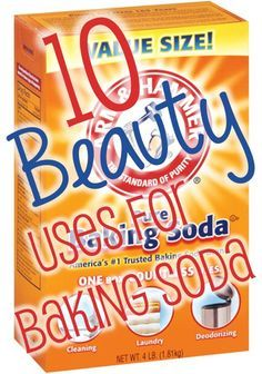 10 Beauty Uses for Baking Soda - from facial scrub to foot soak - from dry shampoo to fixing a splotchy sunless tan - all great tips - well worth the pin