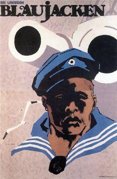 Hans Rudi Erdt (1883-1918, German), 1917, WWI Propaganda Poster.