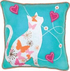 Dimensions Needlecrafts Feltworks Embroidery, Blue Cat Pillow: Arts, Crafts & Sewing