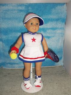 American Girl/ 18 inch doll Tennis Outfit with Racket by SewTMC