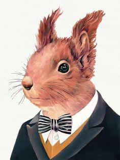 Red squirrel print - hardtofind