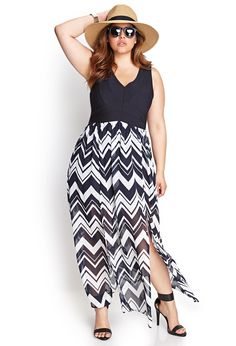 Zigzag M-Slit Maxi Dress | FOREVER21 #F21Plus