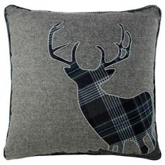 "Stag Wool Blend Cushion Cover 18""x18"" Blue Grey"