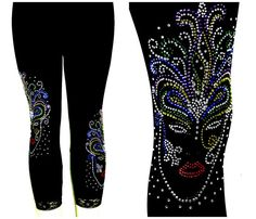 Plus Capri Lace Cuff Leggings Embellished Rhinestone Mardi Gras Mask Design