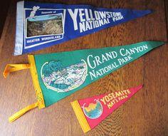 Trio of Vintage Souvenir Pennants- Yosemite National Park, Grand Canyon National Park, & Yellowstone National Park