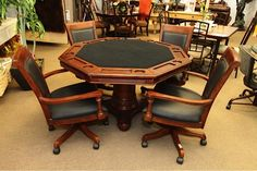 Game Table - 2 Piece Tabletop and Base w/4 Chairs and Leather Cushions - Colleen's Classic Consignment, Las Vegas, NV - www.colleenconsign.com