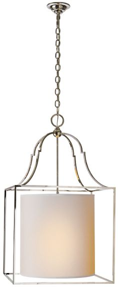 New Product: Gustavian Lantern by Visual Comfort & Co. | Shown in Polished Nickel with Natural Paper Shade