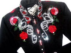 Just Fly Designs Bling Roses Rodeo Queen Shirt