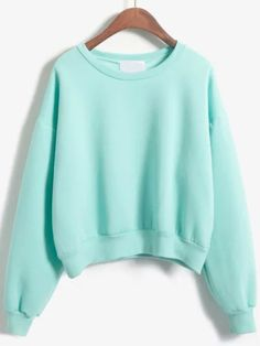 sweat-shirt col rond -vert -French SheIn(Sheinside)