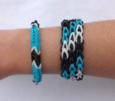 Triple Single Diagonal Cuff Rainbow Loom Made Bracelet with Fishtail Blue | eBay